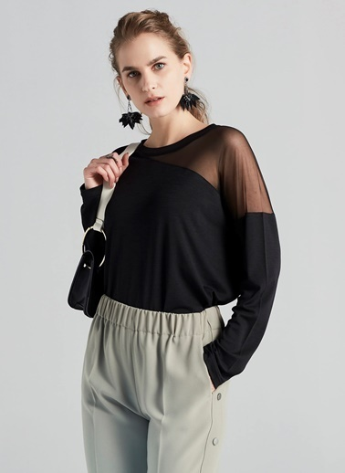Transparan Detaylı Bluz-Ipekyol